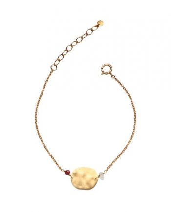 Foto af Stine A Hammered Coin With Gemstones Bracelet Gold