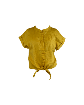 Foto af Black Colour Fie Linen Shirt Yellow