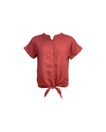 Foto af Black Colour Fie Linen Shirt Terracotta