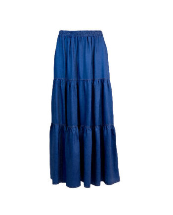 Foto af Black Colour Denim Maxi Skirt Blue