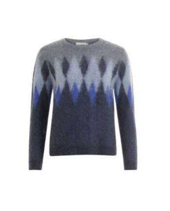 Foto af Coster Copenhagen Knit W. Harlequin Pattern Night Sky Blue