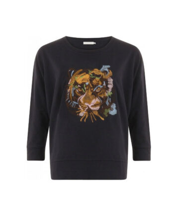 Foto af Coster Copenhagen Sweat O-Neck W. Tiger Embroidery Night Sky Blue