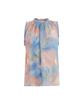 Foto af Coster Copenhagen Top W. Ruffle Edge At Sleeves Seacolor Print