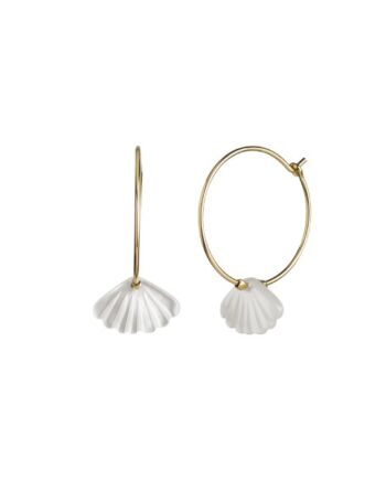 foto af Stine A Hoop With White Seashell Earring Gold
