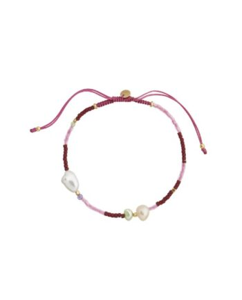 foto af Stine A Deep Red Sea Bracelet With Cherry Pink Ribbon