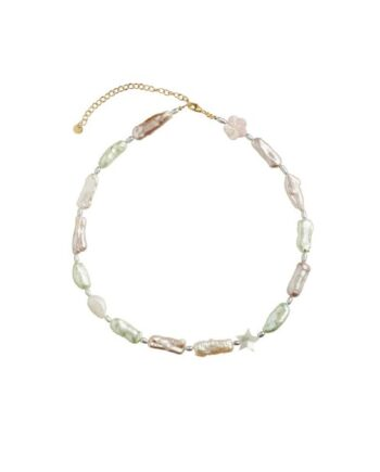 foto af Stine A Baroque Pearl Necklace With Pink, Beige and Mint Green Mix