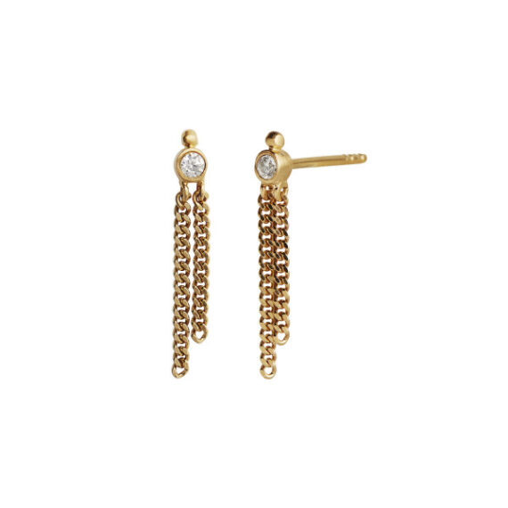 Foto af Stine A Big Dot Earring Gold With Two Chains