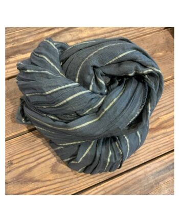 foto af Black Colour Elise Gold Stripe Scarf Dark Grey