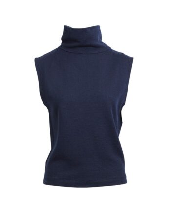 FOTO AF Rabens Saloner Halina Boucle Sweat Open Back Top Navy