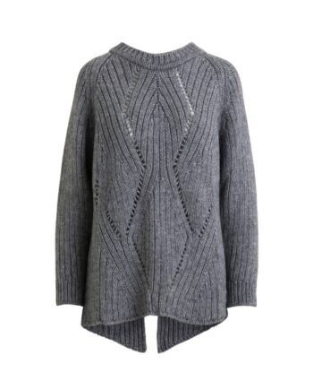 foto af Rabens Saloner Elina Braided Cable OS Sweater Slate Grey