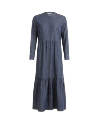 foto af Coster Copenhagen Dress in Soft Denim w. Long Sleeve and Round Neck Medium Indigo