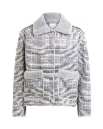 foto af Coster Copenhagen Short Jacket In velvet Check w. Faux Fur Dust Blue